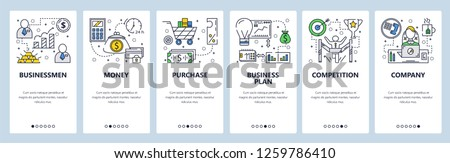Vector web site linear art onboarding screens template. Business plan and company money flow. Menu banners for website and mobile app development. Modern design flat illustration