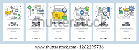 Vector web site linear art onboarding screens template. Computer services data update, analysis and sharing. Menu banners for website and mobile app development. Modern design flat illustration
