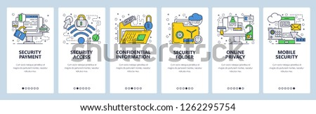 Vector web site linear art onboarding screens template. Cyber security, privacy and secure wireless access. Confidential and secret information. Menu banners for website and mobile app development.