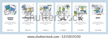 Vector web site linear art onboarding screens template. Graphic design and art, video production and testing. Menu banners for website and mobile app development