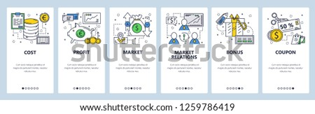 Vector web site linear art onboarding screens template. Money flow and company cost, profit and income. Menu banners for website and mobile app development. Modern design flat illustration