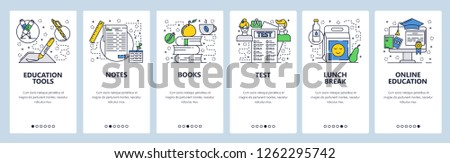Vector web site linear art onboarding screens template. Online education and school books, test, lunch break. Menu banners for website and mobile app development. Modern design flat illustration