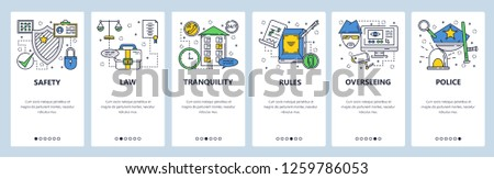 Vector web site linear art onboarding screens template. Safety, privacy and security. Menu banners for website and mobile app development. Modern design flat illustration