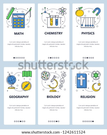 Vector web site linear art onboarding screens template. School subjects, math, physics, biology, chemisty, biology. Menu banners for website and mobile app developmen