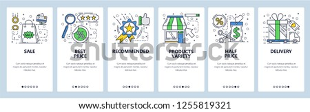 Vector web site linear art onboarding screens template. Shopping, sales and best price tag. Menu banners for website and mobile app development. Modern design flat illustration