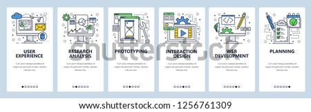 Vector web site linear art onboarding screens template. User experience, prototyping and web development. Menu banners for website and mobile app development. Modern design flat illustration