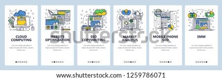 Vector web site onboarding screens template. Online digital marketing, SMM, SEO optimization. Cloud computing, market analysis, SEO copywriting. Menu banners for website and mobile app development