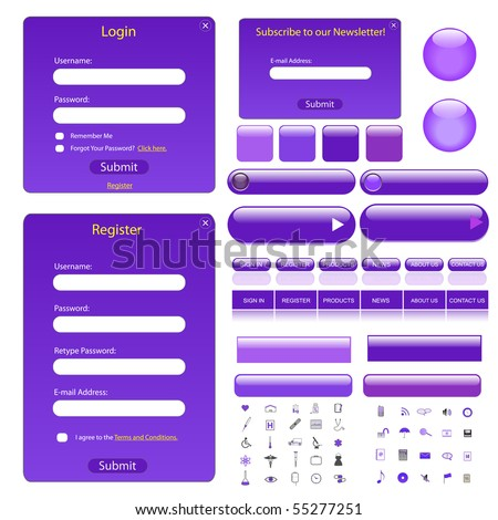 Vector web template with forms, bars, buttons and many icons.