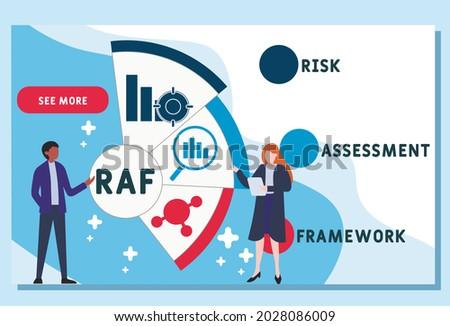 Vector website design template . RAF - Risk Assessment Framework acronym. business concept. illustration for website banner, marketing materials, business presentation, online advertising. Zdjęcia stock ©