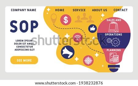 Vector website design template . SOP - Sales and Operations Planning business concept background. illustration for website banner, marketing materials, business presentation Stock fotó ©