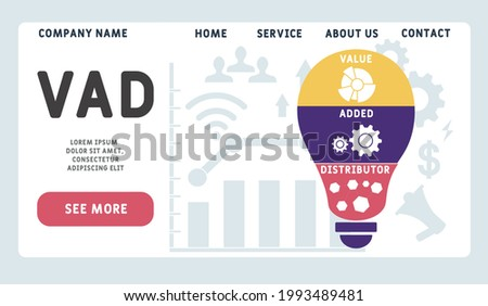 Vector website design template . VAD - Value Added Distributor acronym. business concept. illustration for website banner, marketing materials, business presentation, online advertising. Stock fotó ©