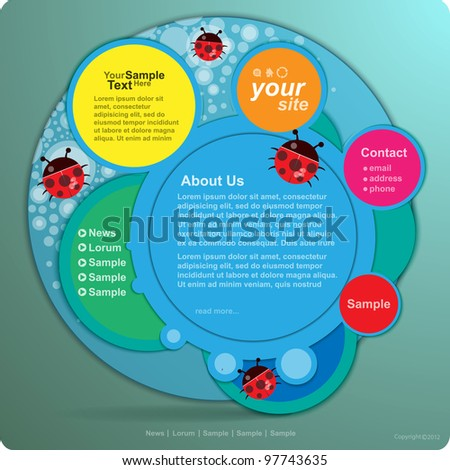 Vector website design template with ladybug