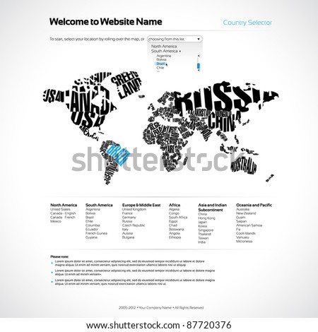 Vector Website Design Template with World Map in Typography