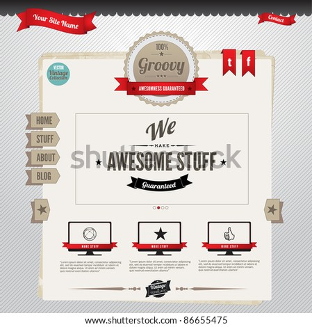 Vector Website Template with retro-vintage inspired design