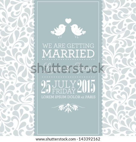 Vector wedding card or invitation with floral ornament background Perfect as invitation or announcement