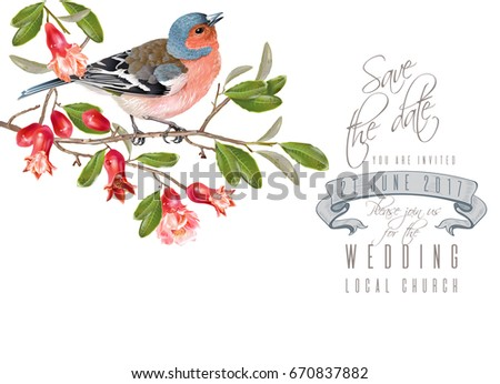 vector wedding card with cute...