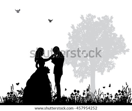 Wedding silhouettes download free vector art stock graphics vector wedding couple silhouette groom and bride in natureholding hands junglespirit Choice Image