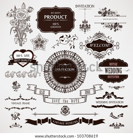 Vector wedding design elements and calligraphic page decoration