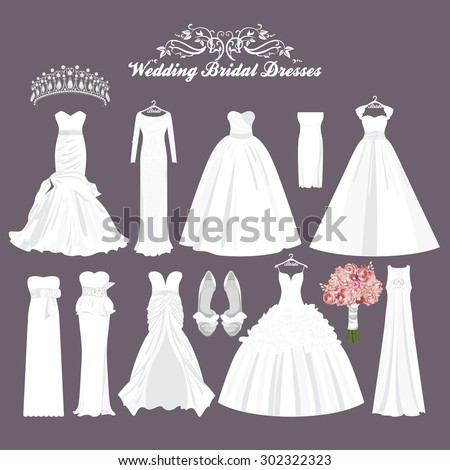 Vector wedding dresses in different styles.Fashion bride Dress. White dress, accessories set.