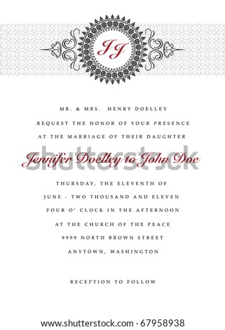 Vector wedding frame. Easy to edit. Perfect for invitations or announcements.