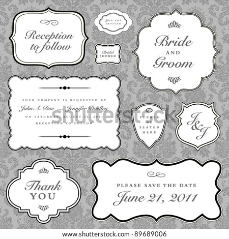 Vector Wedding Frame Set. Easy to edit. Perfect for invitations or announcements.