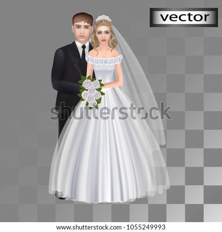 vector  wedding  groom  bride
