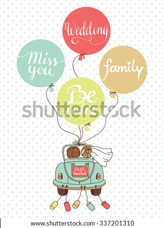Vector wedding illustration with car, newlyweds and balloons! Can be used for wedding decoration #337201310
