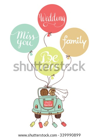 Vector wedding illustration with car, newlyweds and balloons! Can be used for wedding decoration #339990899