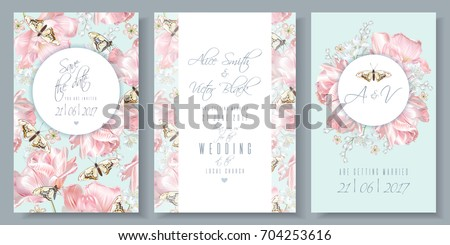 Vector wedding invitation and thank you cards set with pink tulip flowers and butterflies. Romantic floral design for wedding ceremony, bridal brunch, engagement. Can be used as greeting card