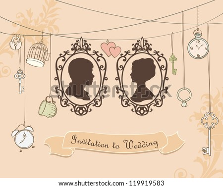 Vector Wedding Invitation Card Vintage card