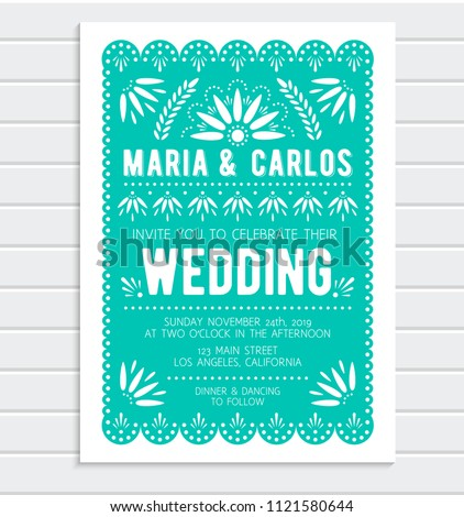 Vector wedding invitation template. Papel picado banner with floral pattern. Mexican paper cut style.