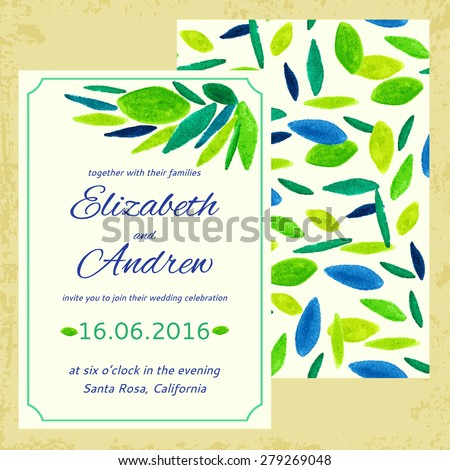 vector wedding invitation. watercolor foliage. seamless pattern with foliage