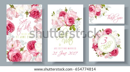 vector wedding invitations set