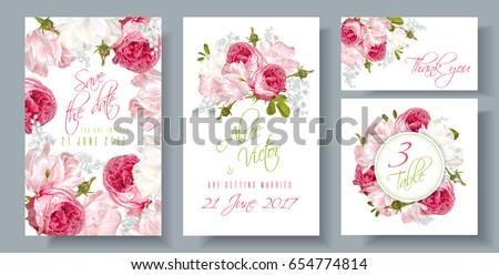 vector wedding invitations set