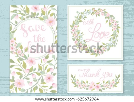 Vector wedding invitations set with the flowers of apple trees. Romantic tender floral design for wedding invitation #625672964