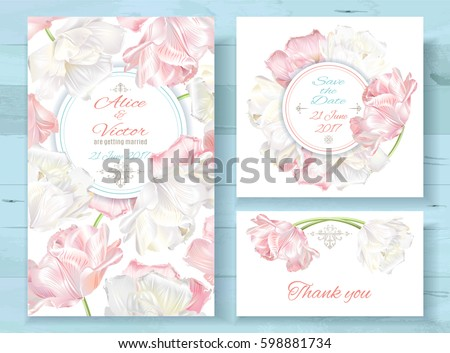 Vector wedding invitations set with white and pink tulip flowers on white background. Romantic tender floral design for wedding invitation, save the date and thank you cards. With place for text #598881734