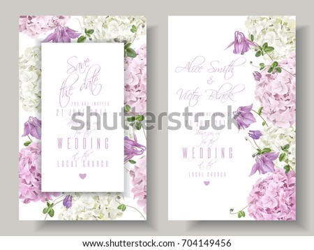 Vector wedding invitations with hydrangea and bell flowers on white background. Floral design for cosmetics, perfume, beauty care products. Can be used as greeting card