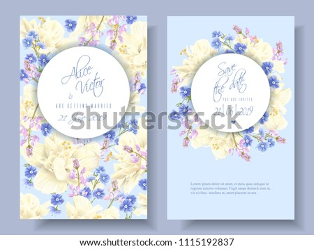 Stock Photo Vector wedding invitations with light yellow hibiscus and forget me not flowers on light blue. Can be used as floral design for cosmetics, spa, perfume, healthcare products, florist, summer background