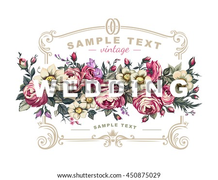 vector wedding label with a