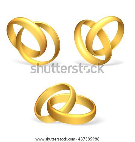 Vector wedding rings on white background vector illustration