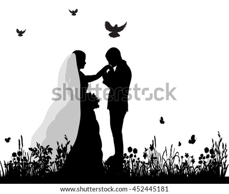 Wedding silhouettes download free vector art stock graphics images vector wedding silhouette groom and bride in nature junglespirit Gallery