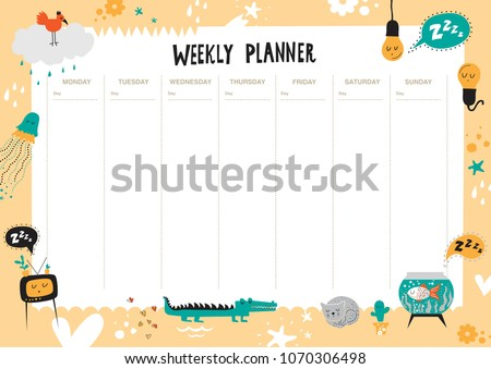 Vector weekly planner with cute animals and elements. Cute list. Jellyfish, bird, crocodile, aquarium, cat, TV, cactus, hearts, stars. Schedule design template. For kids