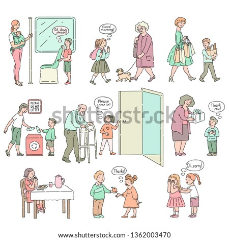 Vector well-behaved boys, girls with good manners, politeness set. Young people helping adults, expressing manners. Decenity and urbanity of children concept.