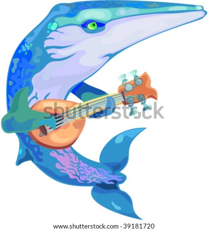 vector whale playing banjo