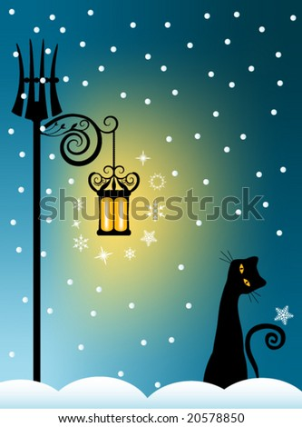 Vector Whimsical Cat on Snowy Winter Background