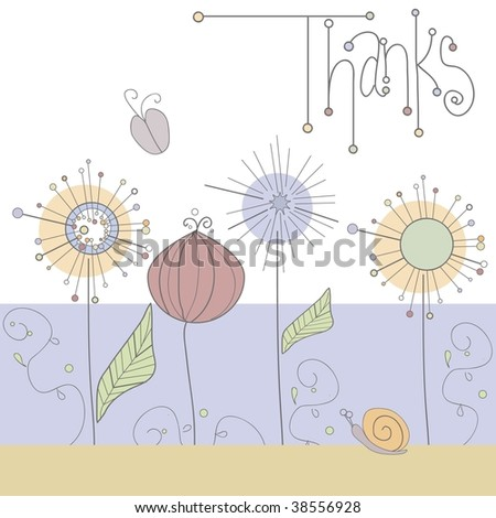 Vector whimsical, handdrawn thank you card with floral design