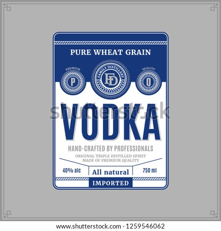vector white and blue vodka
