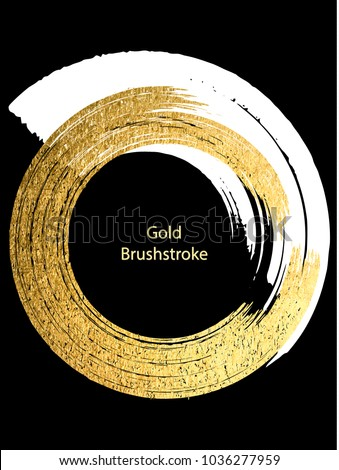 Vector white and gold brushstroke. Design templates for brochures, flyers, typographic emblems, logo, banners. Golden painting abstract modern background.