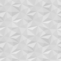 Vector white background panel. Seamless volumed texture for graphic or website template layout. Interior wall decoration. 3D Vector interior wall pattern. Geometric triangle design.