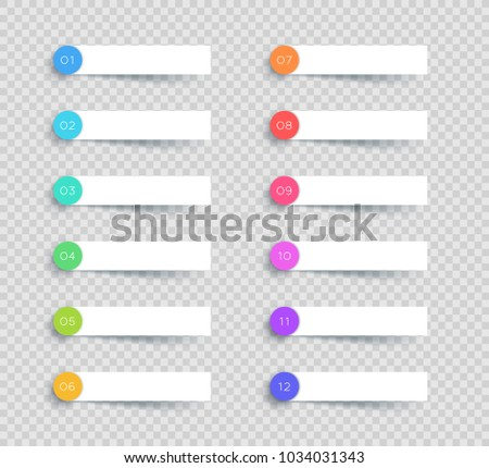 Vector White Banner Elements Number 1 to 12